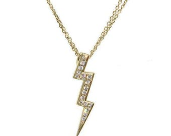 Lightning Diamond Pendant Necklace 14k gold - Sweet 16 Diamonds Necklace.