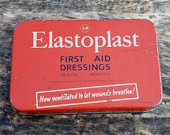 VINTAGE Red Elastoplast First Aid Tin with Plasters