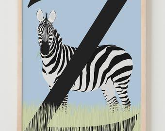 Animal Alphabet, Z is for Zebra Fine Art Print