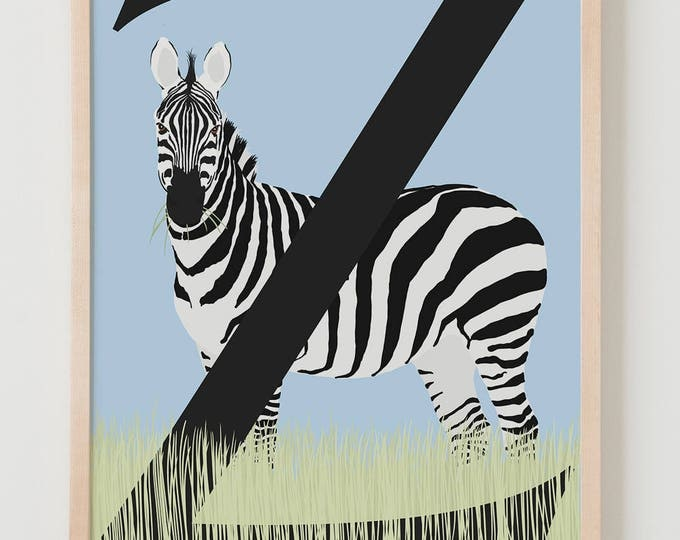 Animal Alphabet, Z is for Zebra Fine Art Print