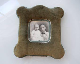 Green Velvet Frame - Antique Table Frame - Small Vintage Frame - Olive Green Velvet Frame - Victorian Frame - Edwardian Frame