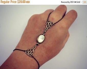 VACATION SALE slave bracelet mother of pearl and filigree connectors, ring bracelet, slave ring, unique bracelet, pearl ring