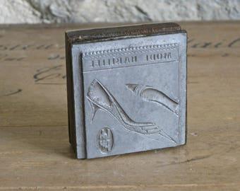 French ladies shoes printing block, 1950s letterpress printer's type advertising block