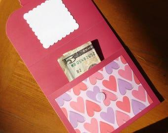 Valentines Gift Card Holder Valentine for Her Red Pink