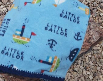 Little Sailor Crocheted Fleece Baby Blanket