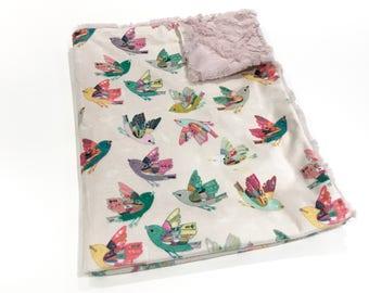 Pink and Cream Birds Baby Girl Blanket - Minky Baby Blanket, Joy in Flight Pink Baby Blanket, Ready to Ship Baby Blanket, Pink Baby Shower G