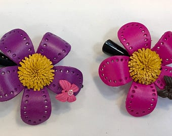 Hazel's sunflower with butterfly hair clip - more pastel color