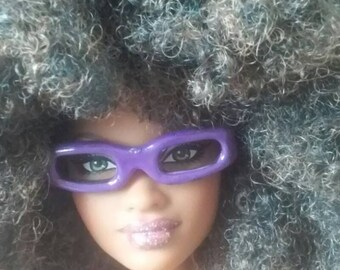 Purple Painted Eye Glasses for Barbie or similar fashion doll