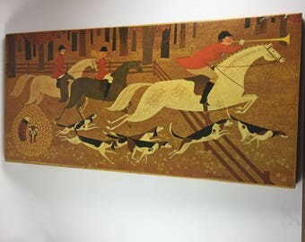 Fox Hunt Scene, Print on Wood Plaque