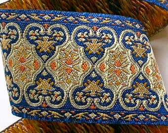 """Woven Ribbon - 2""""- Blue and Silver"""