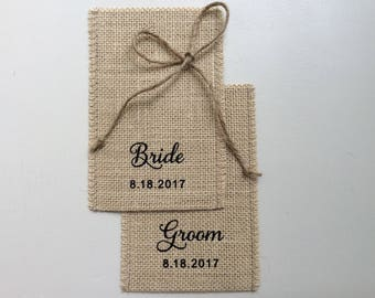 Wedding Ring Holder - Burlap Wedding Ring Bag - Wedding Ring Box Alternative - Customized Wedding Ring Pouch Case -Set of 2 Ring Bearer Bag