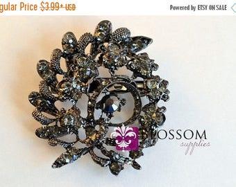 "ON SALE Smoky Rhinestone Brooch Embellishment 2""x2.25"" - DIY Bridal Bouquet - Brooch Bouquet - Wedding Supplies - Black Smoky Stones (Br003)"