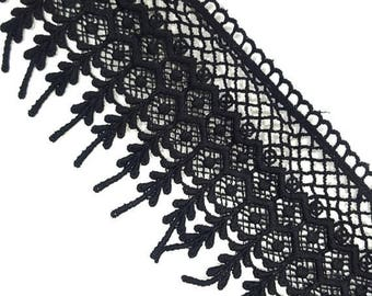Black Lace Crocheted Trim Ribbon, Black Venice Lace Trim