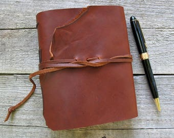 """Leather journal / """"It is never too late to be what you might have been"""" / George Eliot quote / 320 pages / rustic journal"""