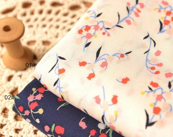 Noil Poplin Flower Floral Navy blue and Offwhite Color for Choice Cotton Fabric, Vintage Style, Cotton Fabric 1/2 yard (QT1310)
