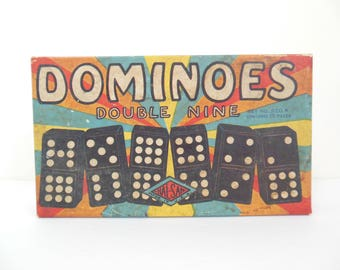 Dominoes Double Nine Hal-Sam Made in USA In Original Box with Instruction Sheet 56 Black with White Spots and Dragons