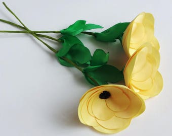 3 Yellow Satin Fabric Flowers on Stems,Bouquet, Silk Floral Decor