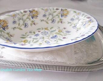 Vintage vegetable bowl by Minton, 1970s Minton Haddon Hall blue vegetable bowl, oval serving bowl, blue floral pattern, mint condition
