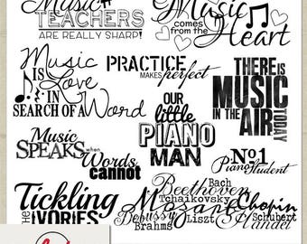 Digital and Printable Overlay Word Art Set - Instant Download - The Piano - Photography