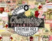 Junk Journal Ephemera- Charming Fragments P2- Ephemera Pack - 5 Pg Instant Download printable diary pack, vintage junk journal, diy journal