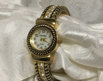 Vintage Persona Gold Tone Cuff Rhinestone Ladies Watch