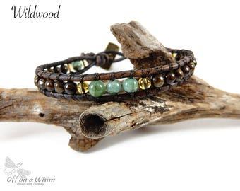 Mens Bracelet Brown Leather Bracelet Leather Wrap Bracelet Jewelry for Him Gift for Man Emerald Bracelet May Birthstone Jewelry Gemstone