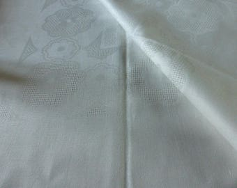 French Vintage Damask Tablecloth & 9 Napkins, Unused Circa 1960's
