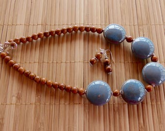 19 Inch Hand- Made Blue and Brown Ceramic Bead Necklace with Earrings