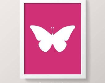 PRINTABLE ART | 8x10 BUTTERFLY | Instant Download Printable Nursery Art | Digital Download Art | Pink