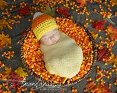 Newborn Candy Corn Halloween Fall Hat Crochet Photo Prop Costume 0-12 Months