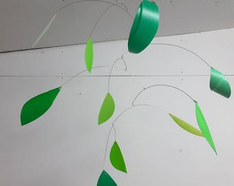 Spring green leaves mobile - kinetic mobile - green home - eco home - eco mobile - trending spring - cool green home - colourful home -