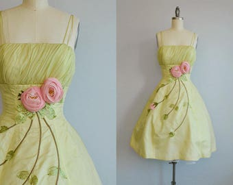Vintage 50s Party Gown / 1950s Sheer Organza Rose Applique Prom Dress with Bubble Skirt