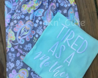 Machine Embroidered Woman Pajama Set