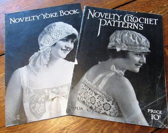 set of five 1916 to 1918 vintage crochet books