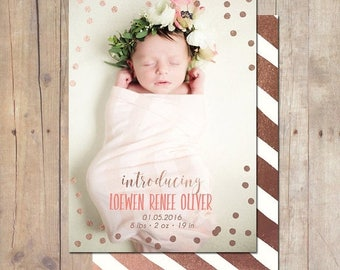 SUMMER SALE Confetti Rose Gold Birth Announcement Card Custom Photo Card 5x7 Professionally printed cards or Printable