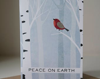 Holiday Card, Holiday Greeting Card, Christmas Greeting Card, Blank Card, Blank Christmas Card, Neutral Holiday Card, Cardinal Card