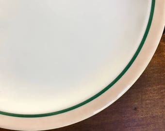 Four Dinner Plates, Green Stripe on Pinky Beige Rim, Durable Restaurant Ware Sudan by Syracuse China ca. 1954
