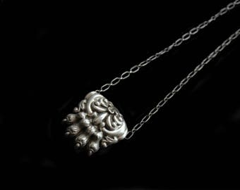 Mercurysmoon-Antique French Silver Lion's Paw Necklace on Newer SS Chain