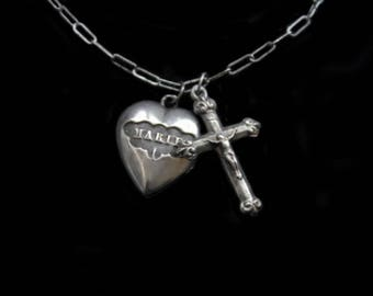 Antique TINY Silver Ex Voto Heart & Cross Necklace-Locket Reliquary Pendant Opening Charm- Jesus and Marie