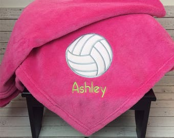 Volleyball Blanket, Personalized Applique Blanket, Sport Blanket, Birthday Gift, Embroidered blanket with Name