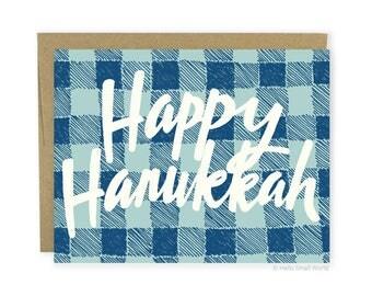 Hanukkah Card - Hanukkah greeting card, buffalo plaid greeting card, happy Hanukkah, blue plaid Hanukkah card