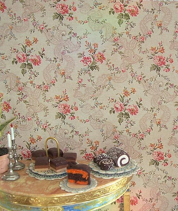 Dollhouse Miniature Wallpaper, Francoise, Scale One Inch