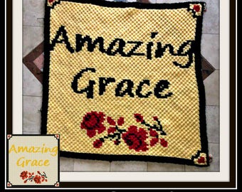 Amazing Grace Afghan, C2C Graph, Written Word Chart