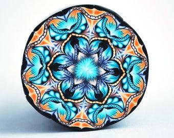 XL Polymer Clay Cane Kaleidoscope, raw and unbaked cane, round cane, Millefiori, Fimo Premo cane