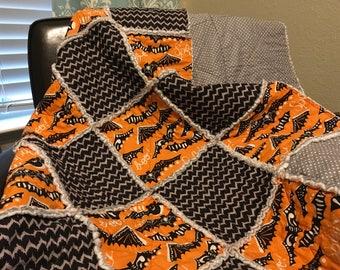 Halloween theme rag quilt baby quilt toddler quilt handmade