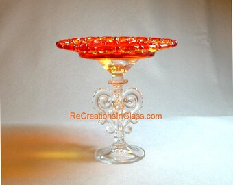 """Glass cake stand. Cake plate stand. Pedestal cake plate.Cake server.Small plate. """"The Cora"""" is made with repurposed/upcycled glass."""