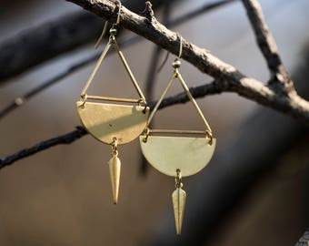 Diamond drop Earrings // Brass //
