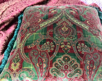 """Pillow..Paisley Velvet pillow Reds & Greens w Green fringe 20 x 20"""" thickly filled"""