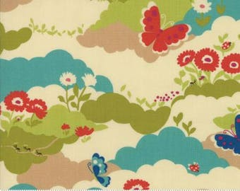 Lucky Day by Momo for Moda - Butterfly Field - Cream - 1/2 Yard Cotton Quilt Fabric 817