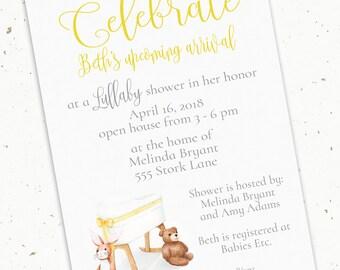 Watercolor Baby Shower Invitation 5x7